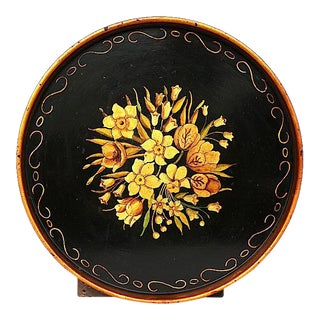 Vintage Hand Painted Decorative Toleware Tray For Sale