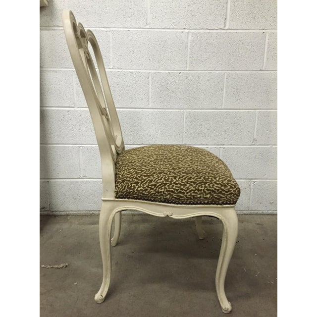 Vintage Cream Wood Ribbon-Back Dining Side Chairs With Upholstered Seat - a Pair - Image 4 of 9