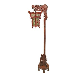 1920-1930 Chinese Dragon Floor Lamp Wood Lantern Reversed Glass Panels For Sale