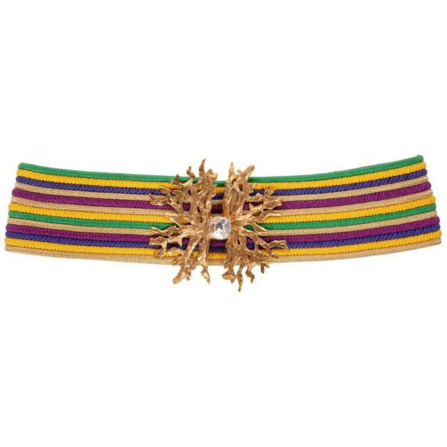1980s Yves Saint Laurent Vintage Ysl Multicolored Passementerie Gold Belt For Sale In Miami - Image 6 of 6