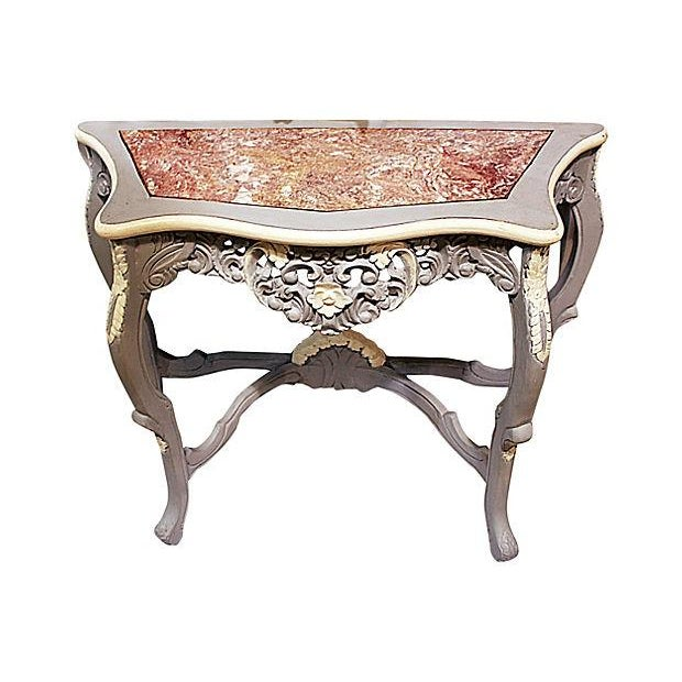 Carved Rocco-Style Marble-Top Console - Image 4 of 5