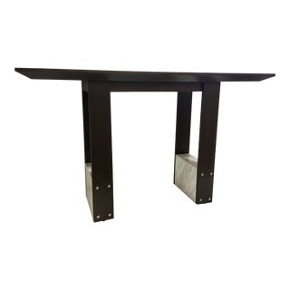 Modern White Marble and Mahogany Finished High Top Dining Table For Sale