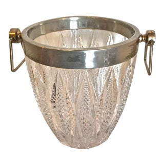 Cut Glass & Silver Plate Ice Bucket For Sale