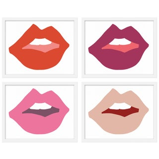 "Medium ""Kiss Me (Pinks)"" Print by Angela Chrusciaki Blehm, 40"" X 32"" - Set of 4 For Sale"