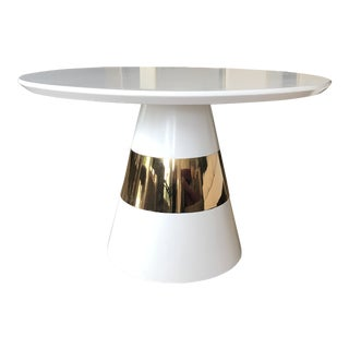 Kelly Hoppen White Lacquer & Brass Band Table