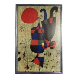 Vintage Miro Framed Art Poster For Sale