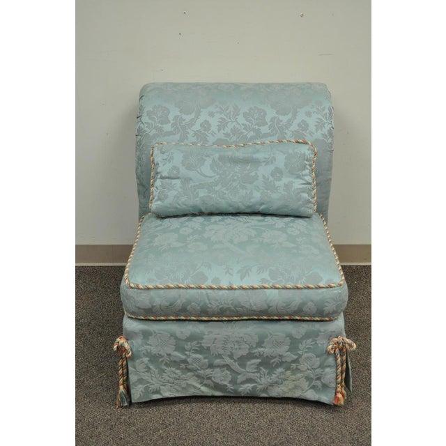 Vanguard Furniture Rolled Back Blue Upholstered Slipper Chair - Image 3 of 11