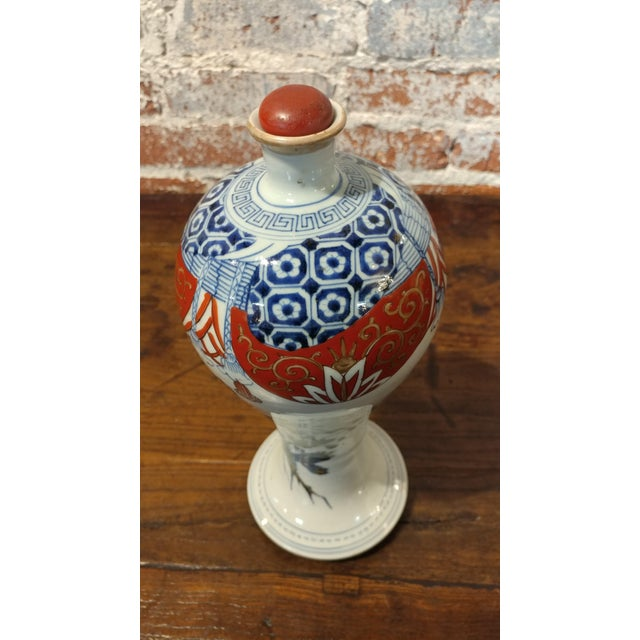 Asian Japanese 17th Century Imari Rare Porcelain Bottle With Stopper C1660 For Sale - Image 3 of 9