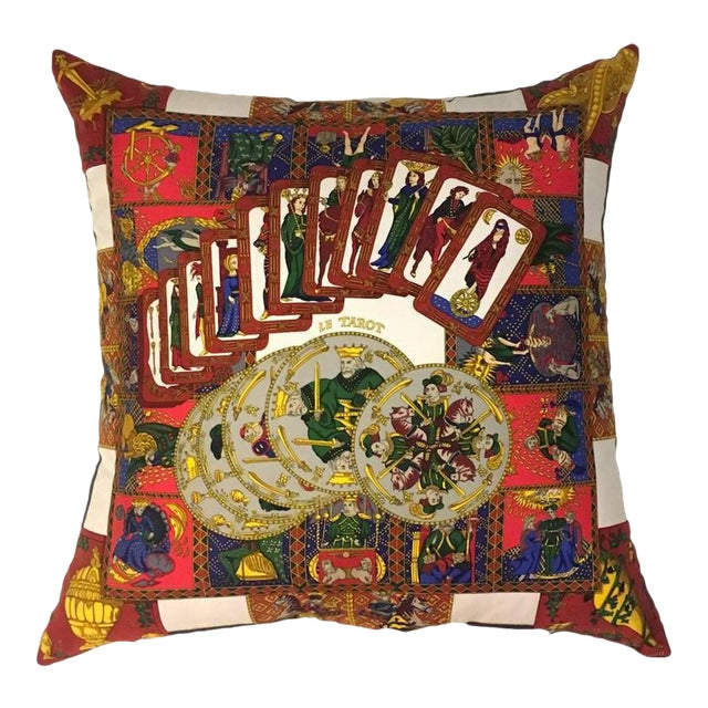 Hermès 'Le Tarot' Silk Scarf Pillow For Sale