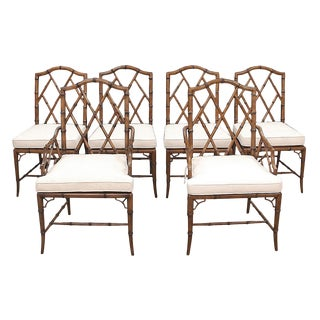Modern Woodbridge Furniture Faux Bamboo Dining Chairs- Set of 6 For Sale