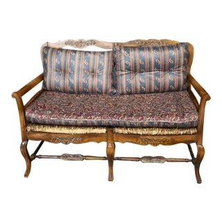 Vintage Country French Provincial Ladderback Settee For Sale