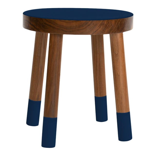 Poco Kids Chair in Walnut With Deep Blue Finish For Sale