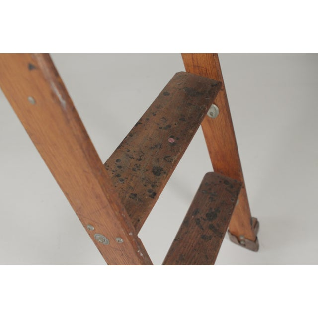 1920s Industrial Folding Ladder With Standing Platform For Sale In Philadelphia - Image 6 of 9
