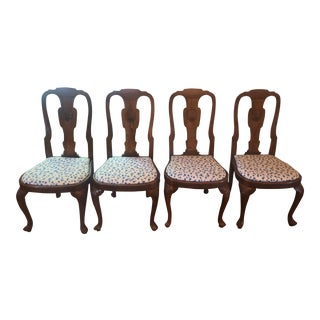 Antique Rare Queen Anne Dining Chairs - Set of 4 For Sale