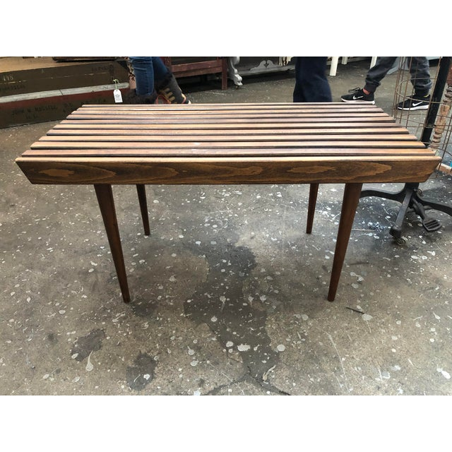 1950s Mid Century Modern Walnut Slat Coffee Table For Sale - Image 4 of 4