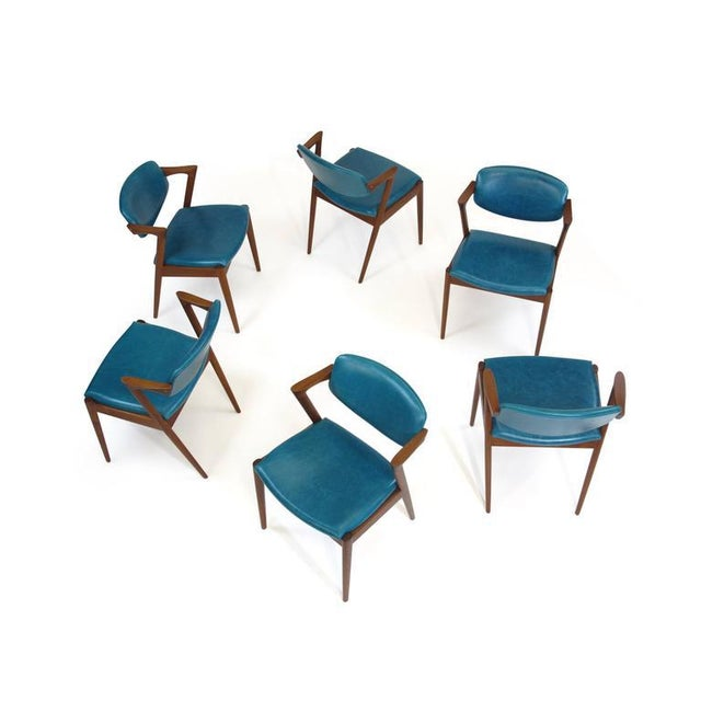 Six Kai Kristiansen Teak Danish Dining Chairs in Turquoise Leather, 20 Available For Sale - Image 11 of 11