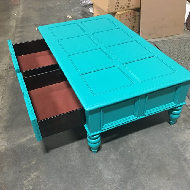 Custom Turquoise Cocktail Table by Bassett - Image 5 of 5