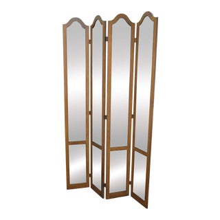 Hollywood Regency Mid Century Antiqued Mirror Folding Screen Room Divider