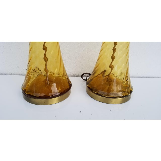 Pair of Tall Vintage Amber Glass Table Lamps For Sale - Image 12 of 13