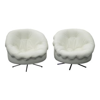 Vintage Milo Baughman Style Tufted White Vinyl Swivel Club Chairs - a Pair Mid Century Modern For Sale