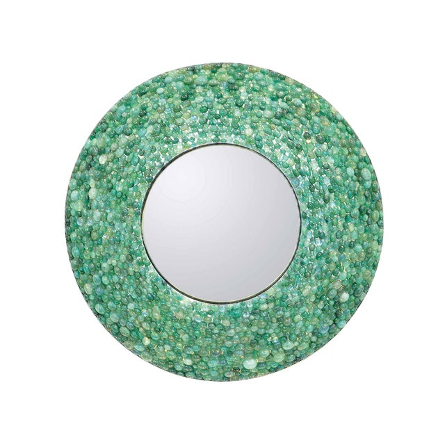 Kam Tin - Emerald Round Mirror , France, 2017 For Sale
