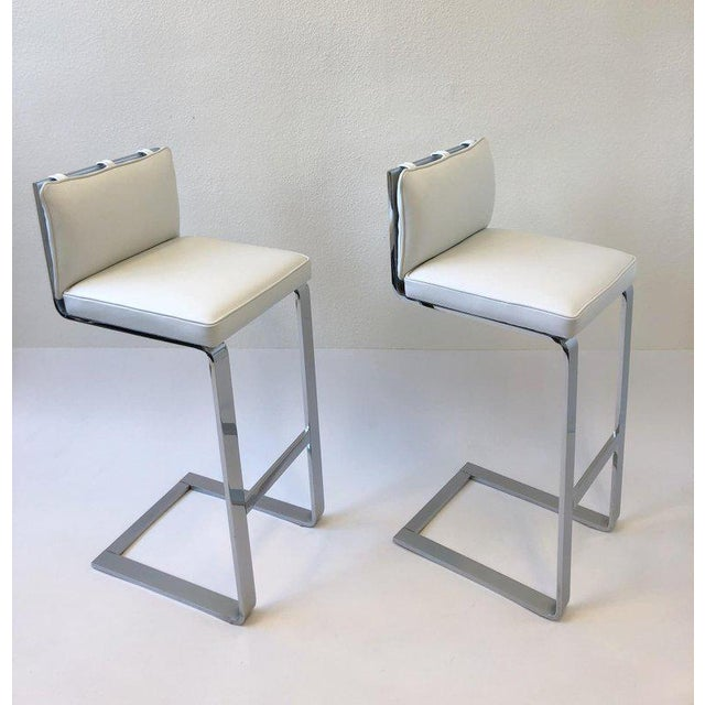 Silver Pair of Chrome and Leather Barstool by Milo Baughman For Sale - Image 8 of 10