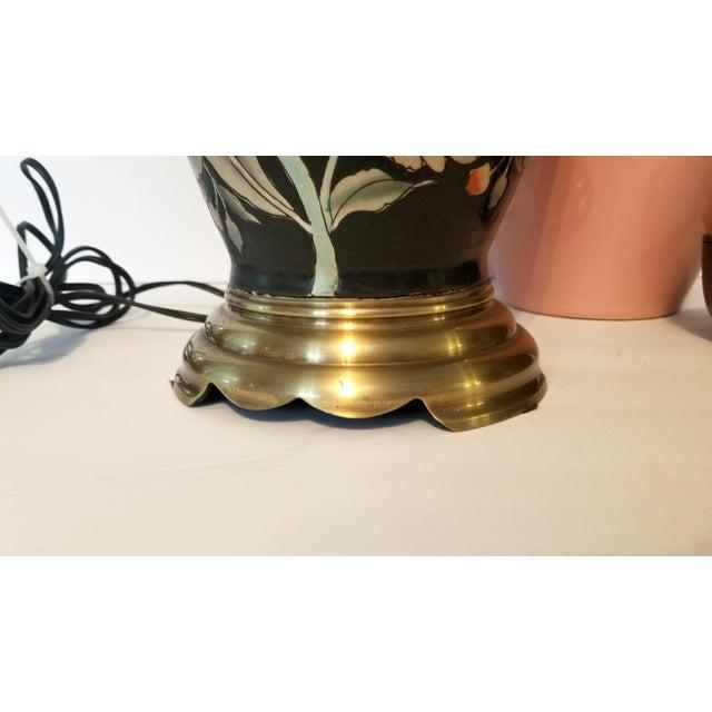 1970s Vintage Asian Black and Pink Floral Porcelain Table Lamp For Sale - Image 5 of 13