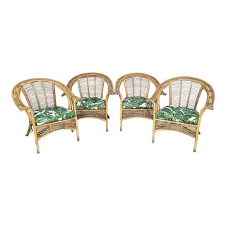 MCM Franco Albini Style Bamboo Rattan Bentwood Armchairs - Set of 4 For Sale