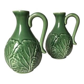 2 Bordallo Pinheiro Green Majolica Cabbage Leaf Cruets