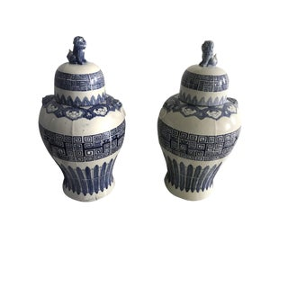 Chinese Blue and White Porcelain Covered Jars - A Pair
