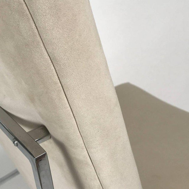 1970s Milo Baughman for Thayer Coggin Chrome Framed Dining Chairs With Ultrasuede For Sale - Image 5 of 6