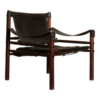 Vintage Mid Century Arne Norell Black Leather Safari Sirocco Chair For Sale