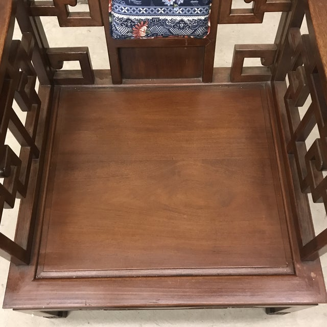 Rosewood Carved Greek Key Chairs - a Pair For Sale - Image 11 of 12
