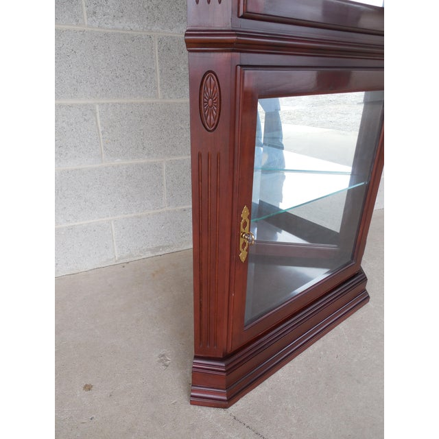 Brown Ethan Allen Georgian Court Curio Lighted Corner Cabinet 11-9018 Finish 205 For Sale - Image 8 of 10