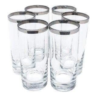 Dorothy Thorpe Silver Rim Slender Drinking Glasses - Set of 6