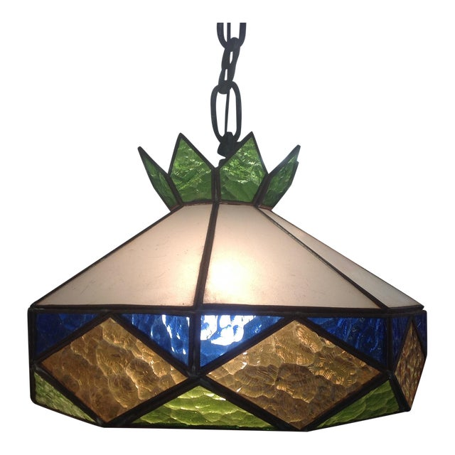 1970s Vintage Stained Glass Light Fixture - Image 1 of 5