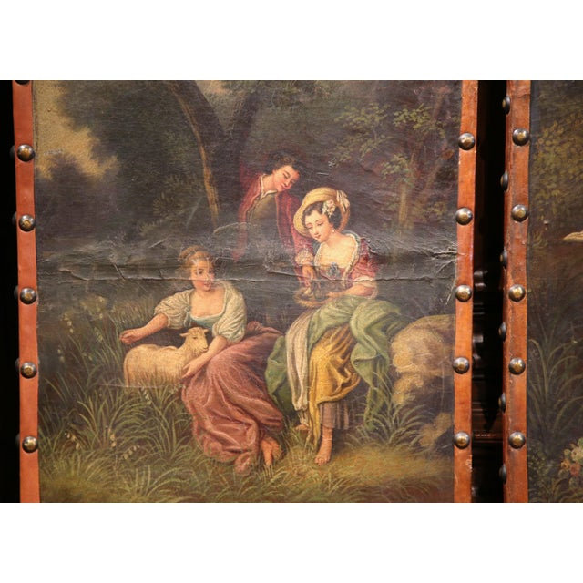 18th Century, French Hand-Painted Leather Four-Panel Screen from Lyon For Sale - Image 9 of 11