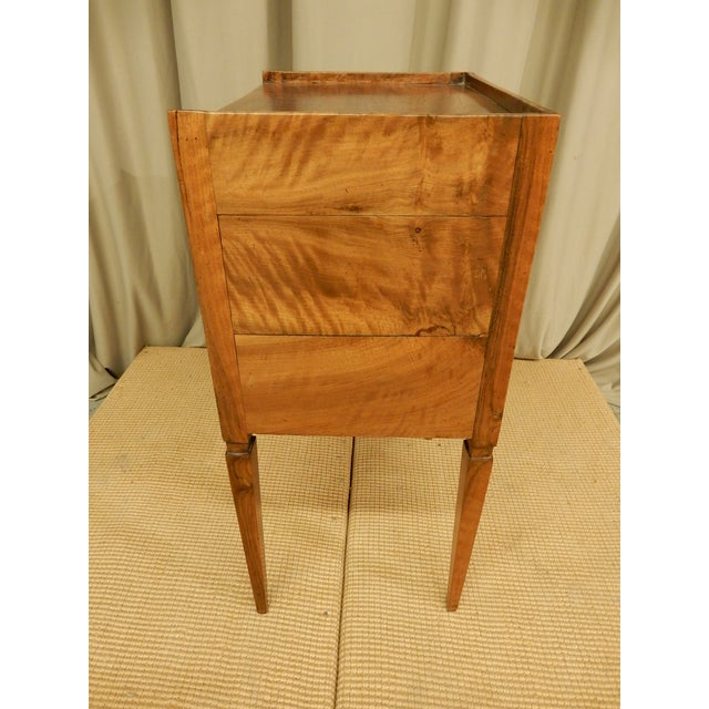 Transitional 19th C. French Walnut Tambour Front Side Table For Sale - Image 3 of 7