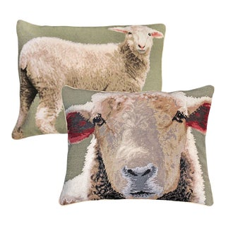 Baby Sheeps Wool Needlepoint Pillows - a Pair For Sale