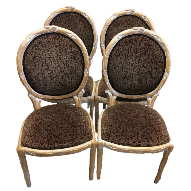 Boho Chic Faux Bois Brown Velvet Side Chairs - Set of 4 For Sale - Image 12 of 12