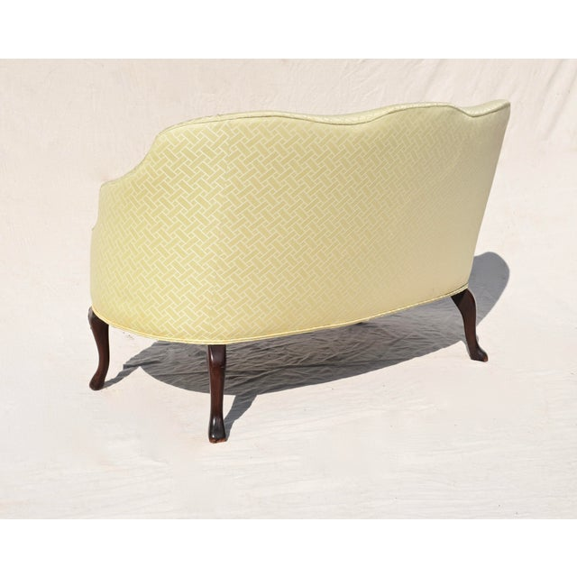 Light Yellow Curved Camel Back Demi Settee For Sale - Image 8 of 14