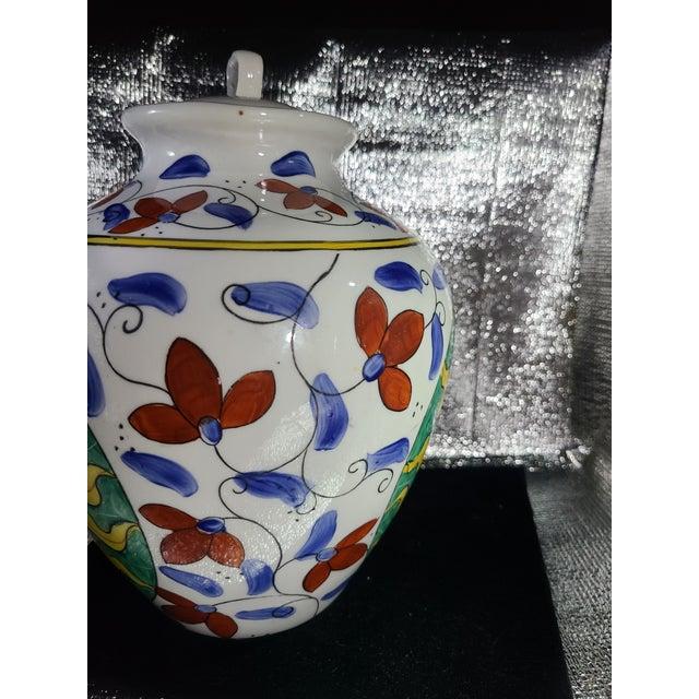 Vintage Sunburst Ceramic Ginger Jar For Sale - Image 4 of 10