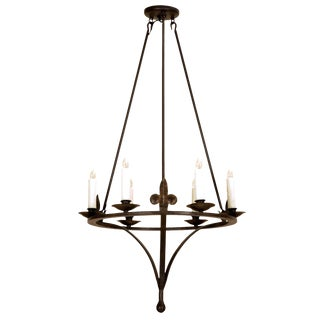 Spanish Colonial Wrought Iron Six Light Chandelier by Randy Esada For Sale