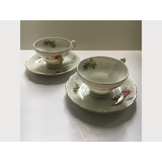 Footed Moss Rose Bone China Tea Cups - Service for 2 For Sale - Image 9 of 12
