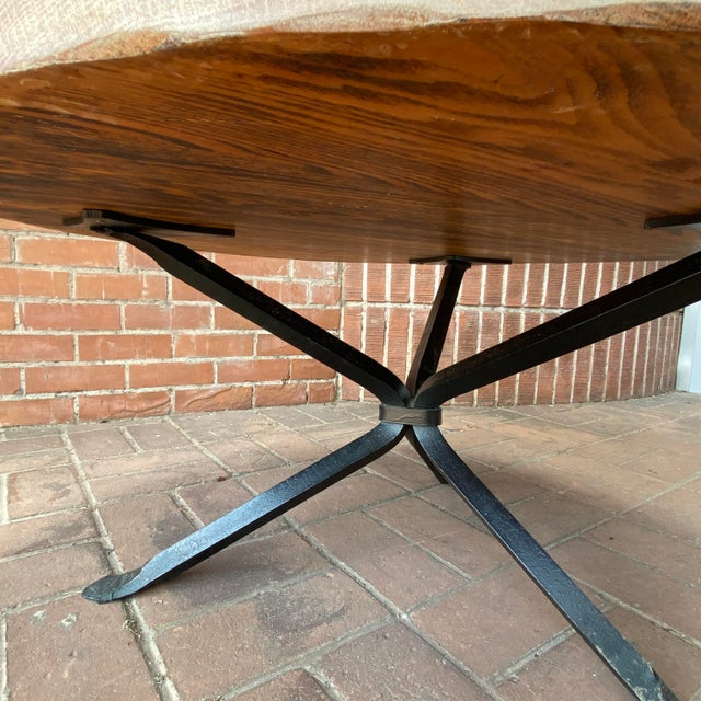 Metal Cleo Baldon Wrought Iron and Whitewashed Oak Coffee Table For Sale - Image 7 of 12