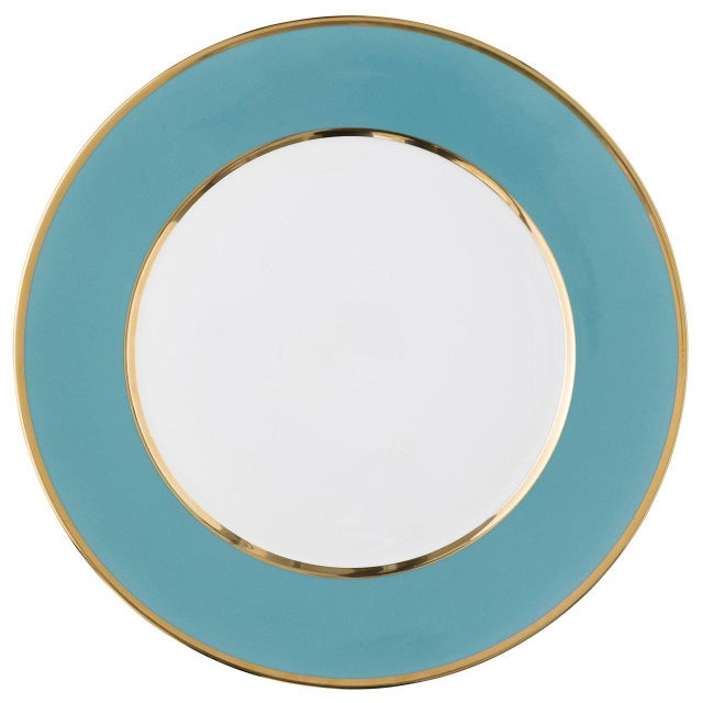 """Ceramic """"Schubert"""" Charger in Yellow & Narrow Gold Rim For Sale - Image 7 of 12"""
