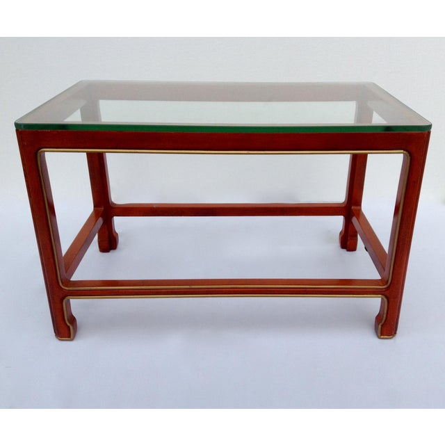 Vintage Kindel Asian Chinese Orange Lacquer Tea Table For Sale - Image 11 of 11