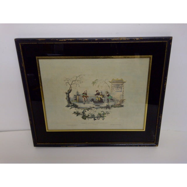Croquis Chinois Par Lasalle, Early 1800s Chinese hand colored Print. Framed, matted. Glass front. The print and the frame...
