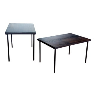 Mid-Century Modern Steel Wood Artisan Made Stacking Tray Side Tables - a Pair For Sale