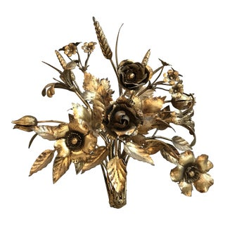 Hollywood Regency Gilt Metal Wall Bouquet
